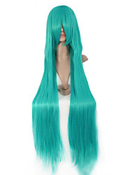Green Long Straight Hair Europe and The United States Animation Role Wig