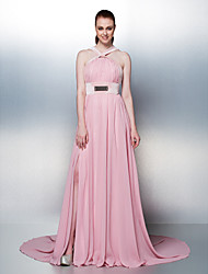Prom / Formal Evening / Holiday Dress - Blushing Pink Plus Sizes / Petite A-line Straps Chapel Train Chiffon