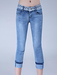 Women's Blue Lace/Denim Pant , Casual/Lace