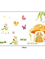 beaux champignons&papillon muraux PVC autocollants