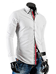 White Men's Fashion Contrast Color Causal Personality Stripes Long Sleeve Shirt