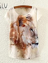 Women's Little Brown Painting Lion Print Loose Small Bat Sleeve T-shirt