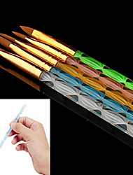 5PCS 5 Colors Sizes 2-way Professional UV Gel Brush Set Acrylic Nail Art Painting Draw Brush