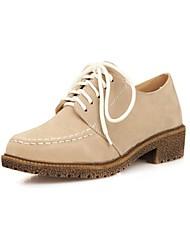 Zapatos de mujer - Tacón Bajo - Punta Redonda - Oxfords - Oficina y Trabajo / Vestido - Semicuero - Negro / Morado / Rojo / Beige