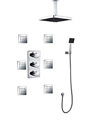ABS 8 Inch Square Shower Head Concealed Bathroom Thermostatic Rainfall Shower Hand 6 Pcs Of Jet Spray Massage