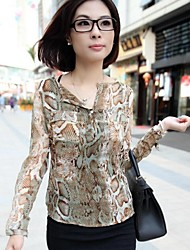 Women's Hot V Collar Serpentine Printing Long Sleeve Shirt