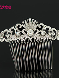 Neoglory Jewelry with Heart Leaf and Clear Crystal Rhinestone Hair Comb for Bridal/Lady Daily/Pageant