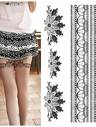 Legs Sexy Silk Stockings Feather Peacock Fan Tattoo Stickers Temporary Tattoos(1 pc)