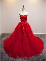 Vestido de Boda - Rojo (el Color y Estilo pueden variar según su monitor) Corte en A Capilla - Sweetheart Organza