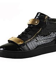 Scarpe da uomo - Sneakers alla moda - Tempo libero / Casual - Vernice - Nero / Blu / Bianco