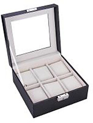 Wedding Gifts Artificial Leather 6 Grids Watch Box Travel Case Organizer Storage Bead Display Cabinet Armoire