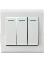 Three Double Wall Switch is Equipped with Hidden Panel - White