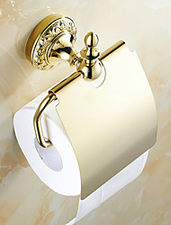 Toilet Paper Holder Ti-PVD Wall Mounted 180*70*125mm(7.08*2.75*4.92inch) Brass Neoclassical