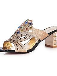 Chaussures Femme - Habillé - Noir / Bleu - Gros Talon - A Bride Arrière - Sandales - Similicuir