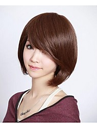 Angelaicos Womens Straight Fashion OL Style Natural Looking Charming Sexy Nightclub Party Bob Wigs Short Brown Black
