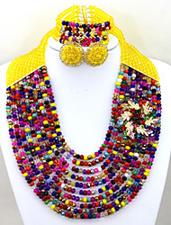 Amazing Multicolor African Crystal Beads Jewelry Set Bridal Necklace Bracelet Earrings Set AC059