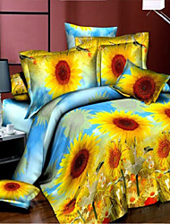 Shuian® Home Textile Printed Bedding Sets with 4pcs Duvet Cover Bed Sheet Queen size
