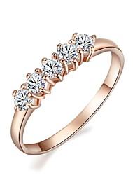 18K Rose Gold Plated 5 Pcs Tiny Cubic Zirconia Stones Rhinestone Engagement Finger Ring