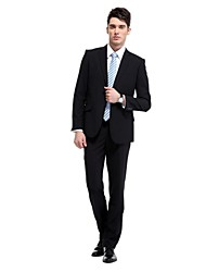 traje formal de la boda de dos botones de color negro mate delgado chaqueta trajes de negocios de los hombres hombres casuales (chaqueta y pantalón)