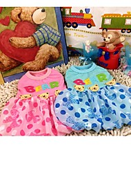 Blue/Pink Cotton Three Bears Skirt Dresses For Dogs Pets