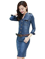 Women's Stand Collar Single Breasted Long Denim Dress(with Belt)