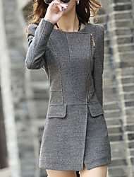 Winni Women's Solid Color Gray Coats & Jackets , Casual Round Long Sleeve