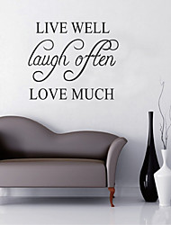 Wall Stickers Wall Decals, LIVE WELL LOVE MUCH English Words & Quotes PVC Wall Stickers