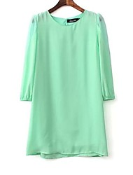Women's Casual/Daily Dress Above Knee Long Sleeve White / Green Spring