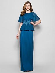 Lanting Bride® Sheath / Column Plus Size / Petite Mother of the Bride Dress Floor-length Short Sleeve Chiffon / Lace withAppliques /
