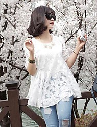 Women's Sexy Lace Micro Elastic Short Sleeve Blouse