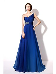 Formal Evening Dress - Color Gradient A-line One Shoulder Floor-length Chiffon with Beading / Crystal Detailing