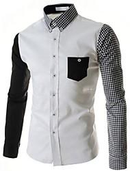 Men's Casual Plaids  Checks Pure Long Sleeve Long Shirts (Cotton Blends)