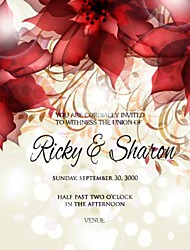 Personalized 50 pcs/Lot 13.5cm x 13.5cm Red Flower Wedding Invitations Save The Date Paper Card
