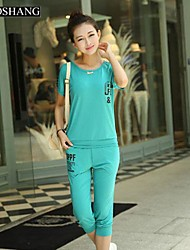 BIAOSHANG®Women's Korea Round Collar Cotton Casual print Two Piece Suit (shirt & Cropped Pant)