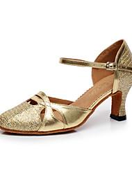 Women's Dance Shoes Latin Sparkling Glitter Chunky Heel Silver/Gold