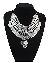 Women EU&US Noble Shield Coins Tassek Alloy Exaggeration Bib Necklace