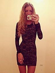rückenfreies Langarm Kleid Frauen sts
