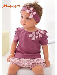 Girl's Summer Short Sleeve Bow Purple T-shirts + Flora Short Pants + Hair Band 3pcs Sets(Cotton)
