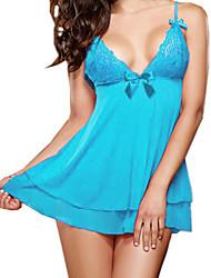 Damen Babydoll & slips Nachtwäsche einfarbig-Andere Blau Damen