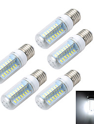 5pcs E27 10W 1000LM 6500K/3000K Cross Board 56-5730 SMD Warm/Cool White Light LED Corn Bulb (AC 220~240V)