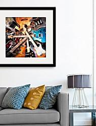 Música Lienzo enmarcado / Conjunto enmarcado Arte de la pared,PVC Negro Passepartout incluido con Marco Arte de la pared