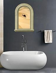 Adesivos de parede adesivos de parede 3d, deserto banheiro camelo parede decoração mural pvc adesivos