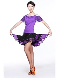 Latin Dance Outfits Women's Training Milk Fiber Black/Blue/Fuchsia/Purple/Red