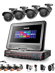 annke® 8ch ahd 960H / NVR + 4 800tvl analogía 100ft ir corte sistema de cámaras de seguridad de la visión nocturna del dvr / hvr (sin disco duro)