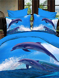 Shuian®3D Dolphin Queen Size Bedding Sets Duvet Cover Bed Sheet Set Bed In A Bag