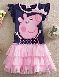 Girl's Summer Casual Short Sleeve Cake Cute Dresses (Cotton/Mesh)