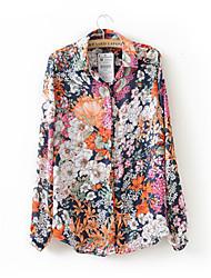 estilo mais novos chiffon vintage impressão floral camisetas euro