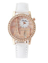 Women's Luxury Rose Gold Tower Design Circular Dial PU Leather Strap Quartz Wrist Watches(Assorted Colors)