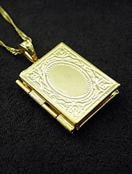 18K Real Gold Plated Internal Laser Engraving Allah Muslim Photo Box Pendant 1.2*2.5CM