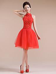 Vestito - Rosso Cocktail Palloncino Lupetto Mini Tulle
